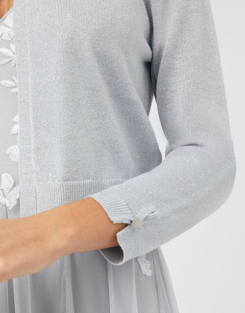 Elyse Metallic Knitted Shrug with Sustainable Viscose, Blue (BLUE), large