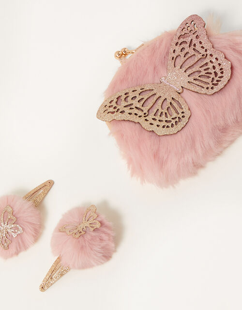 Glitter Butterfly Fluffy Accessory Set, , large