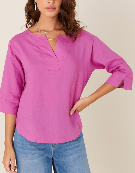 Daisy Plain T-Shirt in Pure Linen Pink, Pink (PINK), large