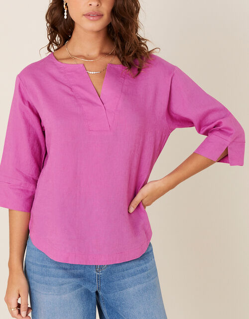 Daisy Plain T-Shirt in Pure Linen, Pink (PINK), large