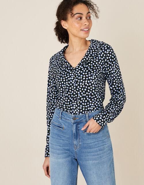 Flower Bud Print Shirt, Blue (NAVY), large