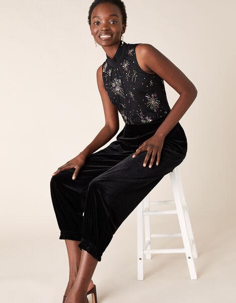 Sarina Starburst Embellished Sleeveless Top Black, Black (BLACK), large