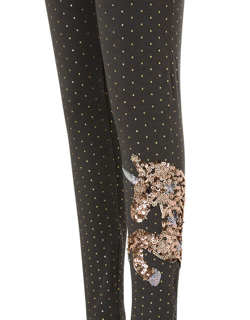 Sequin Unicorn Polka-Dot Leggings, Grey (CHARCOAL), large