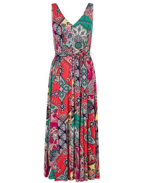 Carolyn Scarf Print Jersey Midi Dress, Pink (PINK), large