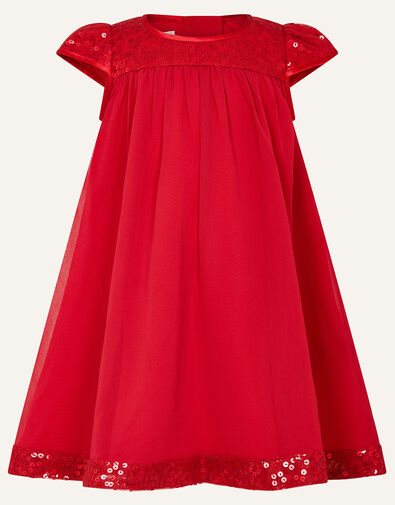 Baby Sequin Sleeve Dress Red, Red (BURGUNDY), large