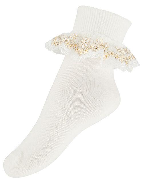 Girl Metallic Floral Ankle Socks, Ivory (IVORY), large