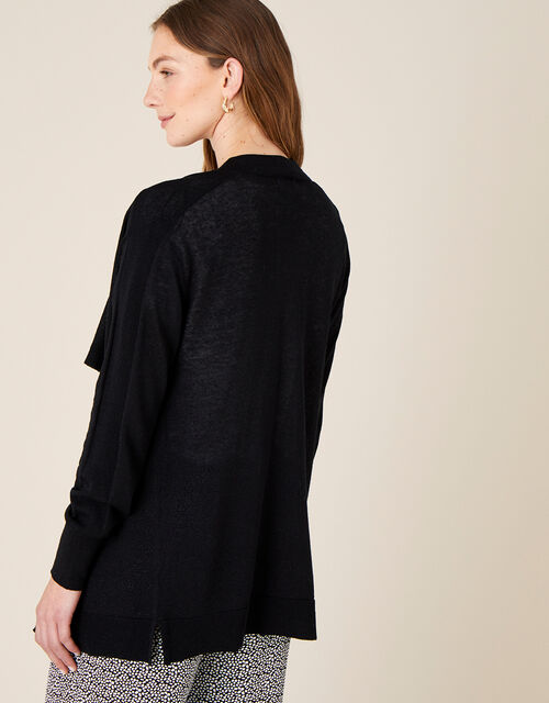 Waterfall Cardigan in Linen Blend , Black (BLACK), large