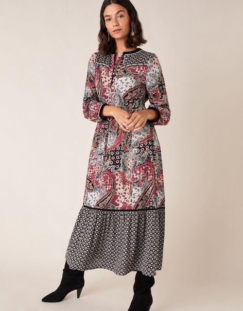 Paisley Print Midi Dress, Pink (PINK), large