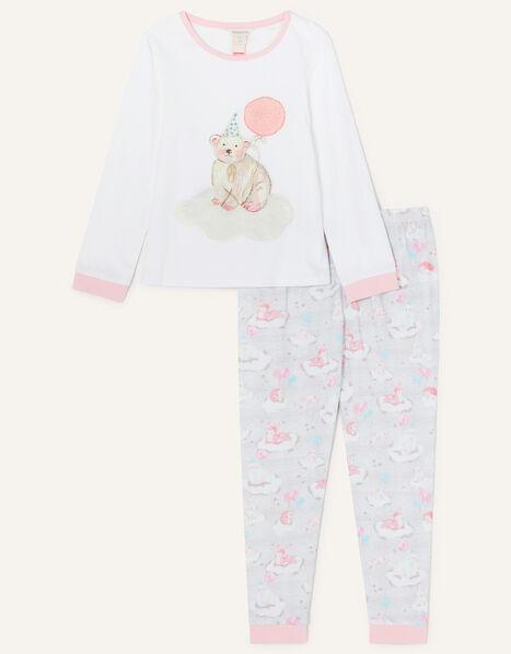 Winter Bear Jersey Pyjama Set Ivory, Ivory (IVORY), large