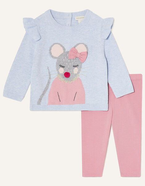 Baby Mouse Knit Top and Leggings Blue, Blue (BLUE), large