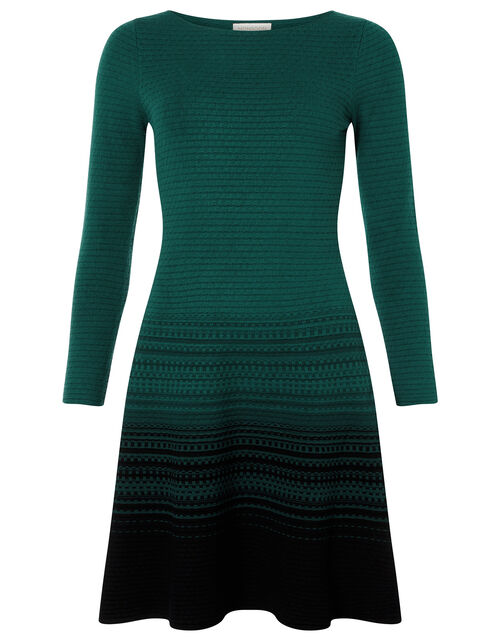 Ombre Knit Dress with Sustainable Viscose, Green (DARK GREEN), large