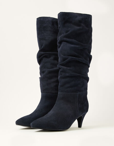 Nellie Knee Slouch Suede Boots Blue, Blue (NAVY), large