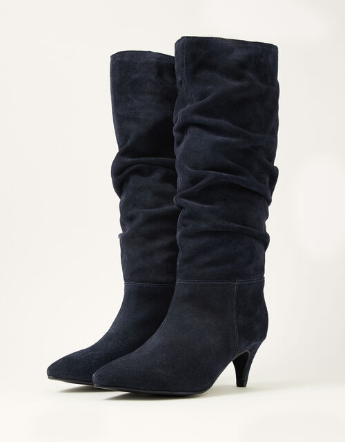 Nellie Knee Slouch Suede Boots, Blue (NAVY), large