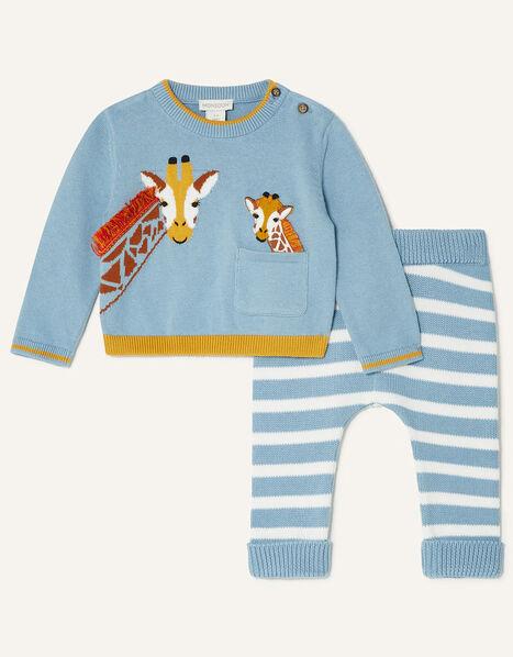 Newborn Giraffe Knit Set Blue, Blue (BLUE), large