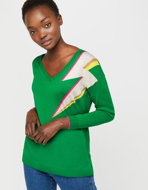 Lena Lightning Bolt Jumper, Green, large