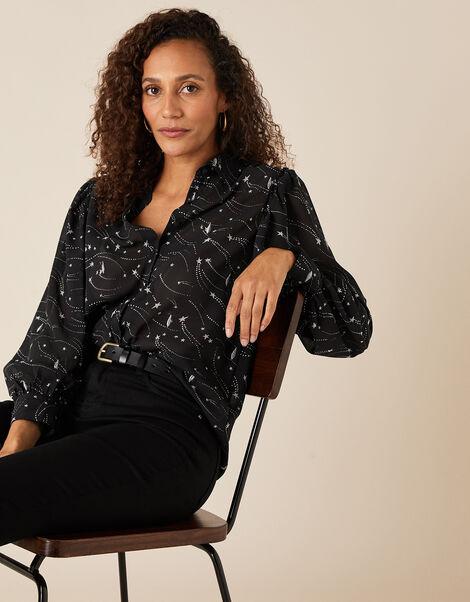 Star Print Embroidered Blouse Black, Black (BLACK), large