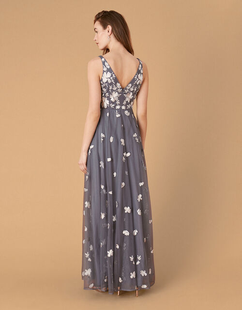 Clemence Embroidered Maxi Dress, Grey (GREY), large
