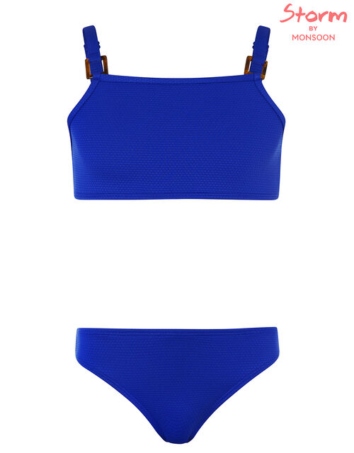 Rhia Square Detail Textured Bikini Set, Blue (BLUE), large
