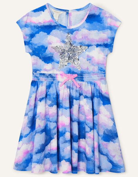 Sequin Star Cloud Print Jersey Dress Multi, Multi (MULTI), large