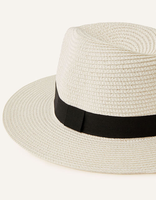 Band Trim Fedora Hat , White (WHITE), large