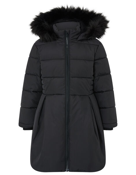 Flared Padded Coat with Recycled Fabric Black, Black (BLACK), large