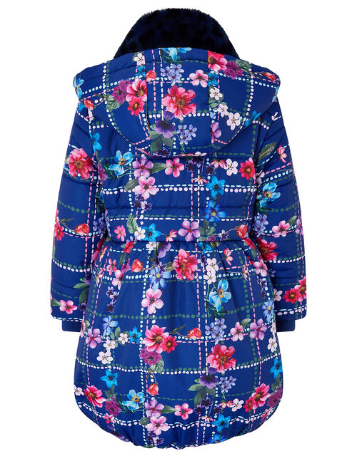 Floral Check Padded Coat in Recycled Fabric, Blue (NAVY), large