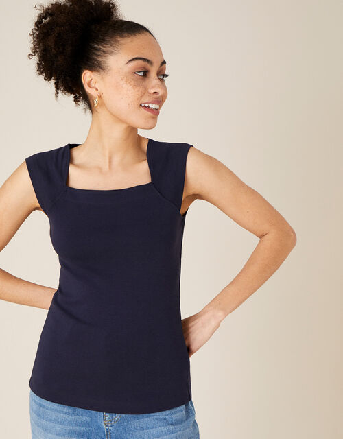 Clara Square Neck Vest, Blue (NAVY), large