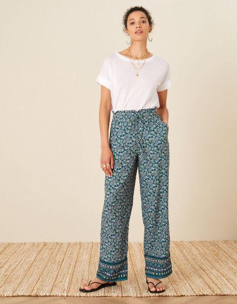 Rita Printed Wide Leg Trousers Teal, Teal (TEAL), large