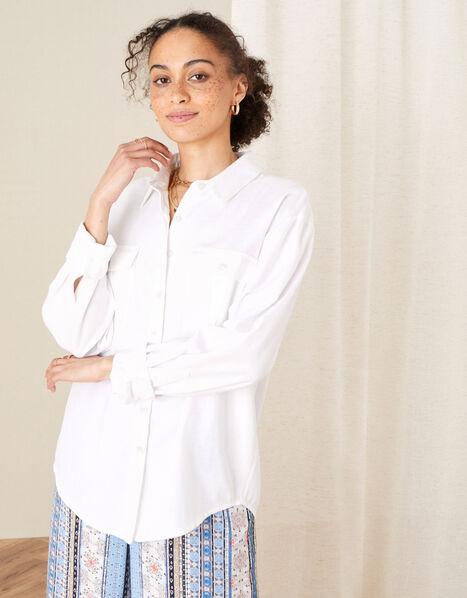 Pocket Shirt in Linen Blend Ivory, Ivory (IVORY), large