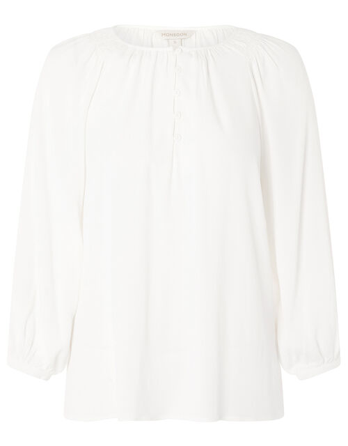 Button Front Blouse with Sustainable Viscose, Ivory (IVORY), large