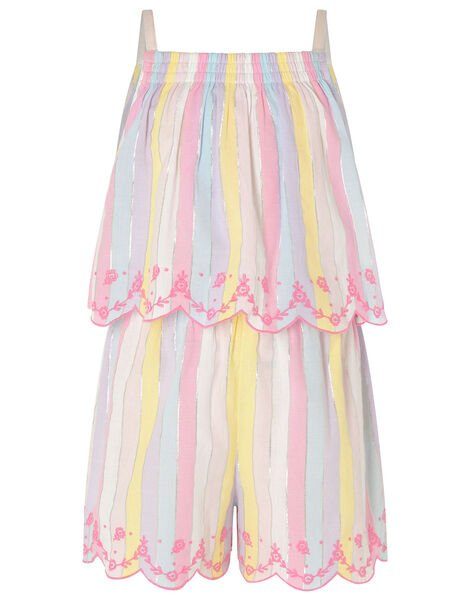 Rainbow Shimmer Stripe Playsuit Multi, Multi (MULTI), large