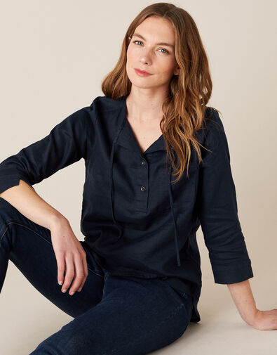 Millie Shirt in Pure Linen Blue, Blue (NAVY), large