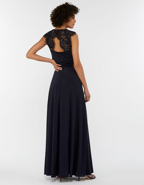 Yasmeen Lace Jersey Maxi Bridesmaid Dress, Blue (NAVY), large