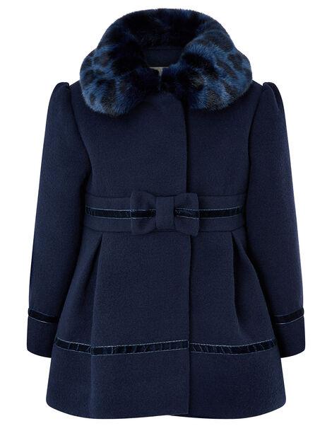 Baby Bow Coat Blue, Blue (NAVY), large