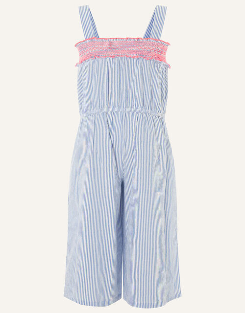 Ticking Stripe Jumpsuit in Pure Cotton, Blue (BLUE), large