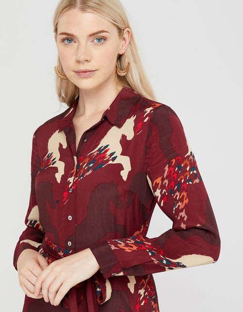 Holly Horse Print Shirt Dress, Berry, large