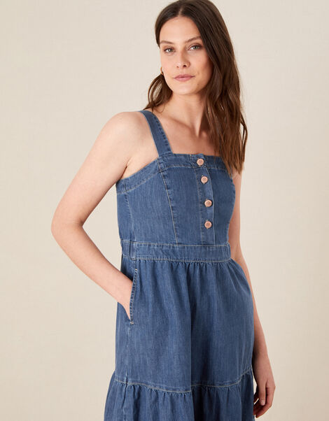 Tiered Denim Sundress Blue, Blue (DENIM BLUE), large