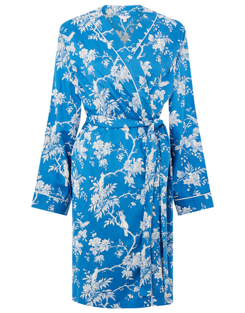 LOUNGE Floral Print Dressing Gown, Blue (BLUE), large