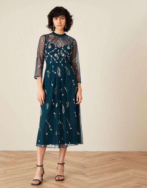 Cleo Paisley Print Embroidered Midi Dress Teal, Teal (TEAL), large