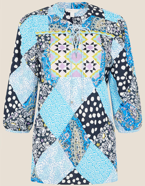 Patchwork Print Top, Blue (BLUE), large