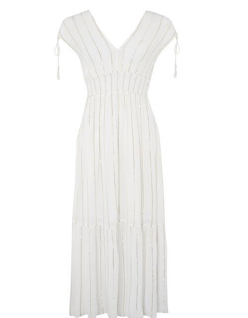Metallic Stripe Maxi Dress with Sustainable Viscose, Ivory (IVORY), large