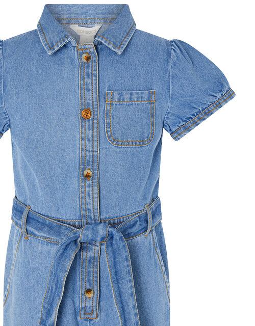 Denim Puff Sleeve Jumpsuit, Blue (BLUE), large