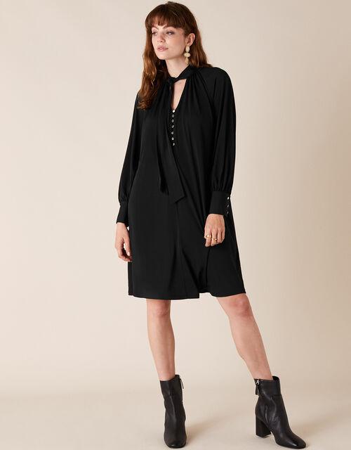 Tie-Neck Smart Short Jersey Dress, Black (BLACK), large