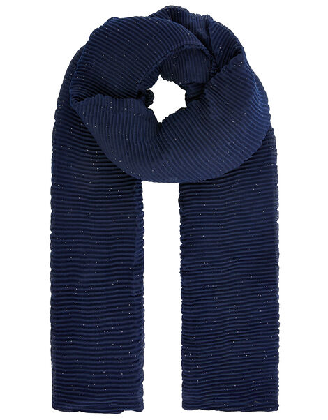 Shimmer Pleated Occasion Scarf Blue, Blue (NAVY), large