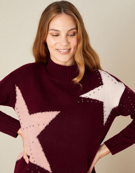 Stacy Star Knit Jumper Red, Red (BERRY), large