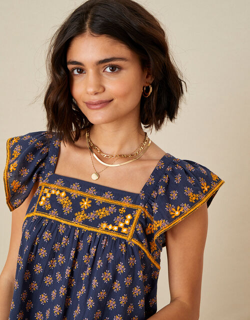 Embroidered Geo Print Top, Blue (BLUE), large