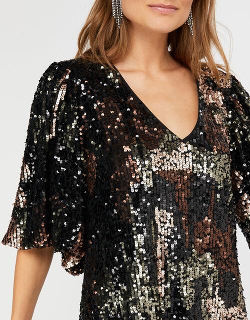 Carmen Camo Sequin Short Dress, Black (BLACK), large