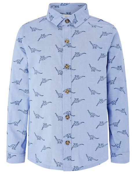 Dinosaur Long Sleeve Shirt Blue, Blue (BLUE), large
