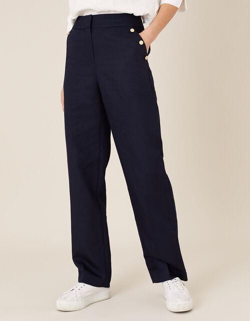 Smart Longer Length Trousers in Linen Blend, Blue (NAVY), large