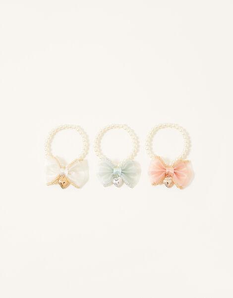 Heart Charm Organza Bow Bracelets, , large